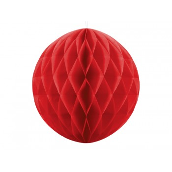 Boule-alvéolée-30cm-Rouge-Point-Fêtes-Party-Déco-KB20-007